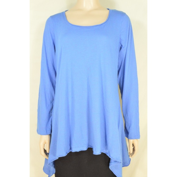 Chalet top SZ M blue slight crinkle material long